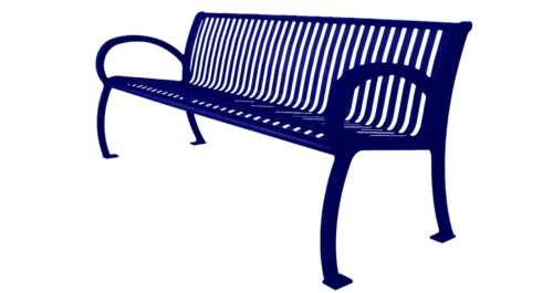 Park Bench Architectural Series w Slat Back - Blue