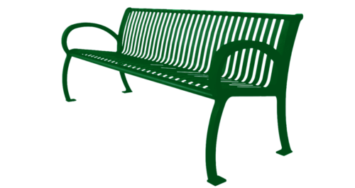 Park Bench Architectural Series w Slat Back- Green