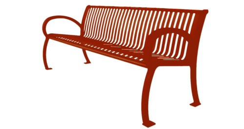 Park Bench Architectural Series w Slat Back - Red